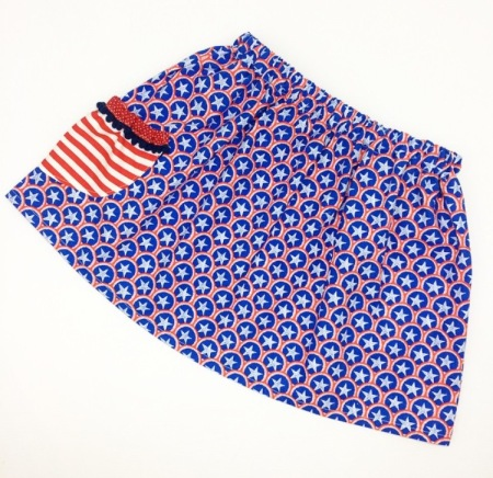 mixed print|Stars+Stripes skirt by Pudge and Pigtails